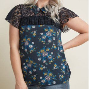 Modcloth Plus 2X Blue Floral Lace Collared Top